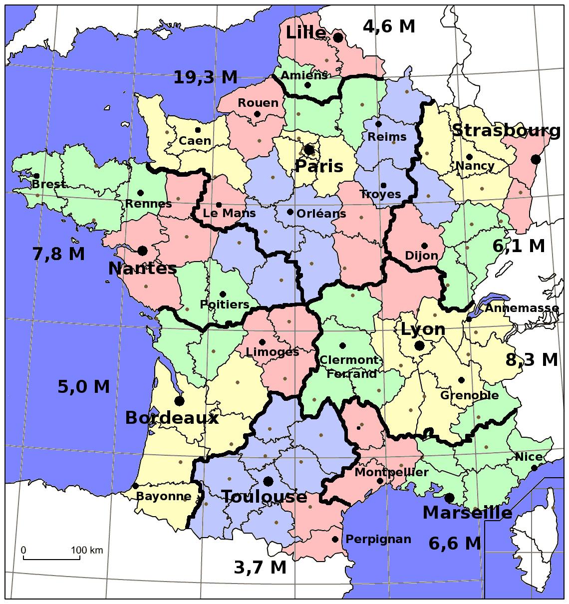 Carte de France découpée en 8 nouvelles régions, avec visibilité des anciennes régions