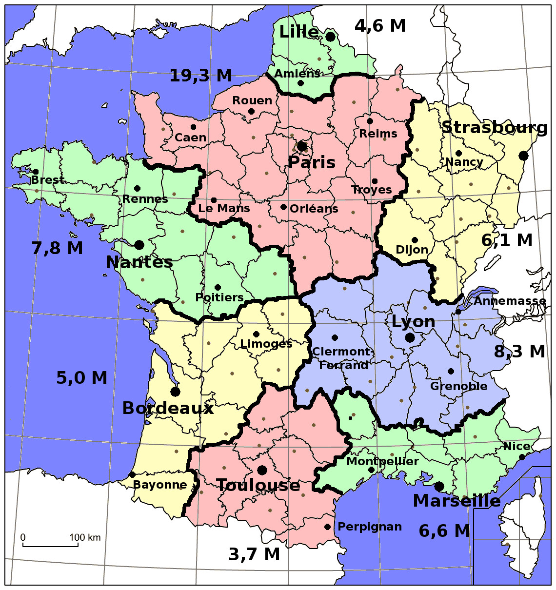 Carte de France découpée en 8 régions