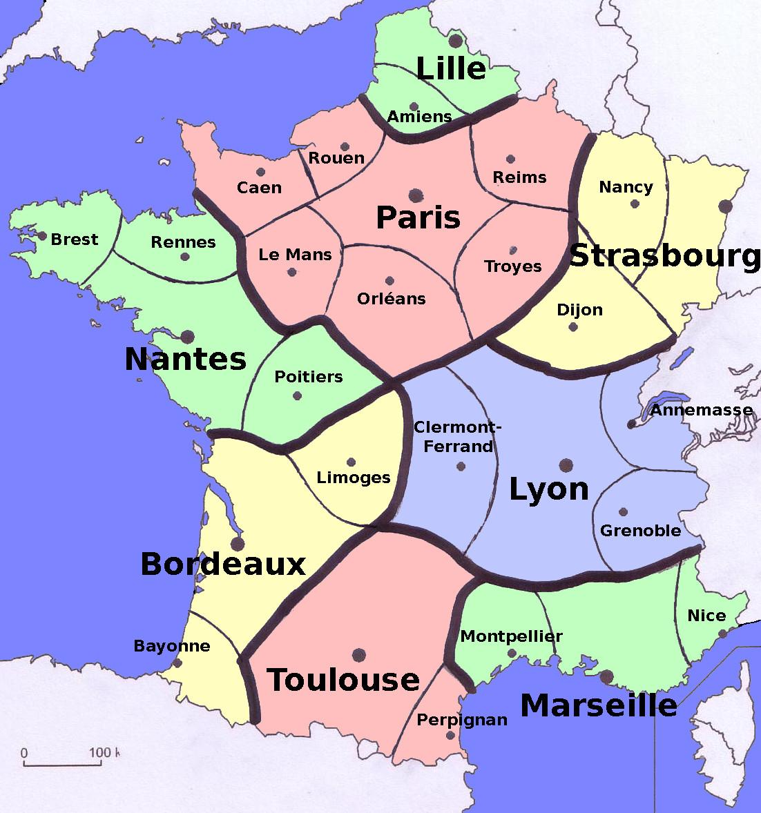 Carte de France découpée en 8 zones