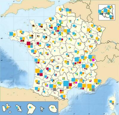 Carte pour voir l'implantation géographique des réseaux de mandataires